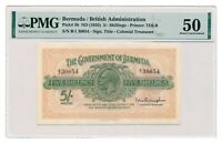 BERMUDA banknote 5 Shillings 1935 PMG AU 50 About Uncirculated