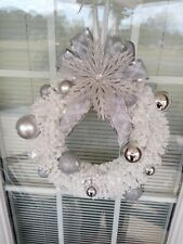 Christmas, wedding, or baby shower white, silver and clear jeweled wreath. 12in.