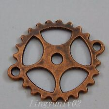 40X Red Copper Five Star Gear Alloy Pendant Charm Jewelry Finding 50024