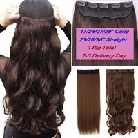 US One Piece(5 Clips)Clip-on Long Wavy Real as Human Hair Extension 3/4Full Head