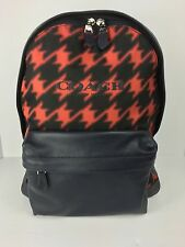 COACH F71755 Campus Backpack Book Bag Men's Leather Red Houndstooth NWT