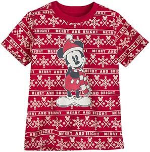 Disney Store Authentic Mickey Mouse Holiday Christmas Boys T Shirt Size M 7/8