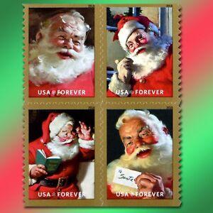 20 Christmas Santa Forever Postage Stamps Book USPS Sparkling Coke Holidays Card
