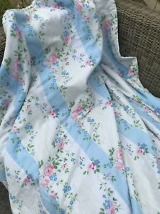 Lovely Laura Ashley floral/stripe Bedspread/Quited Throw