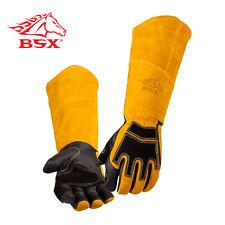 BSX® Premium Grain Pigskin/Cowhide Back Long Cuff Stick Welding Glove Size L