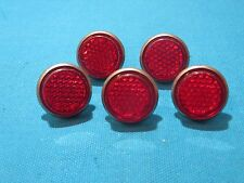 "License Plate 1"" Red Reflectors with Metal Back and Wing Nut - Set of 5 - New"