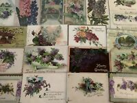 Pretty ~Lot of 20 Lilac Purple Lilacs Flowers~ Vintage Greetings Postcards-c252