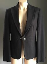 Smart MARKS & SPENCER Charcoal Grey Contrast Stitch Tailored Jacket Size 12