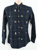 POLO RALPH LAUREN Men's Green/Blue Checked Slim Fit Shirt with Patches, SMALL