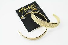 Thalia Sodi Gold-Tone Metallic Snake Print Hoop Earrings