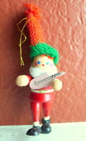 Santa Claus Wooden Christmas Ornament 1984 vintage with instrument