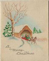 VINTAGE CHRISTMAS HORSE RED SLEIGH RIDE SNOW COVERED BRIDGE STREAM CARD PRINT