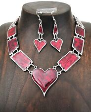Queen of Hearts Red Pink Abalone Paua Silver Heart Necklace and Earrings