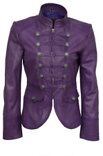 Victorian Party Parade Military Heritage Style Purple Napa Leather Jacket
