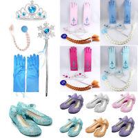 Girl Frozen Princess Elsa Accessories Tiara Gloves Crown Wig Wand Shoe New Gift
