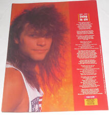 BON JOVI-LIVING IN SIN Full Page Songwords Cutting 1989!