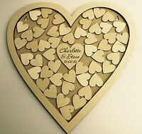 Personalised wedding heart shaped guest book drop box wooden 56 hearts keepsake