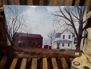 """Sunday Service by Billy Jacobs, Canvas Picture, 12""""x18"""" Amish Barnyard Farmhouse"""