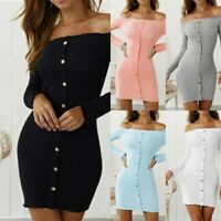 Party Dress Bodycon Long Sleeve Casual Maxi Solid Cocktail Dresses Off Shoulder