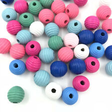 20pcs Wooden Bead Round Stripe Bead for Baby Crafts&Pacifier Clip Necklace 13mm