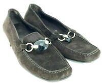 Stuart Weitzman Loafer Women's 9 M Brown Suede Bit Slip On Block Heel Shoe Spain