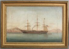 19thC Antique Oil Painting, Civil War Screw Frigate Steam Sloop Warship Ship NR