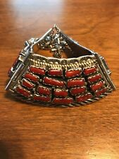 CHARLES JOHNSON NAVAJO STERLING SILVER RED CORAL CLUSTER HINGED NECKLACE