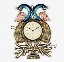 Traditional Rajasthani Hand Painted Wooden Peacock Shape Wall Clock - 449