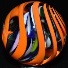 "STEVE DAVIS HANDMADE GLASS MARBLE/1.468""-HOLLOW CORE DOUBLE TORNADO-VIOLET,LUTZ"