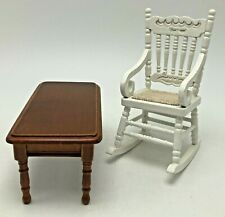 Melissa & Doug Wooden Doll House Furniture Dining Table and White Rocking Chair
