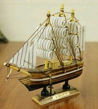 Mediterrane Sailor's Wooden Sailing Wealth Ship  Feng Shui  Lian Hua Height 14cm