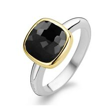 Genuine Ti Sento Silver/gold plated with Black CZ set ring 1967BY Size 52 £70