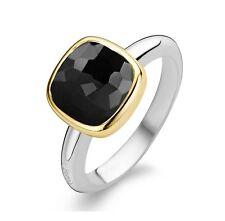 Genuine TI SENTO PLATA/ORO PLATEADO con Negro CZ anillo conjunto 1967BY Talla 52 £ 70