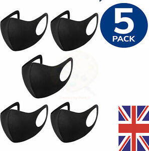 5x Face Mask Washable Black Reusable Masks Protection Shield Cover Black Adult