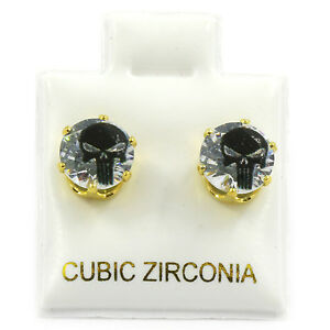Mens Gold 7mm Round Surgical Steel Clear CZ Hip Hop Ghost Skull Stud Earrings