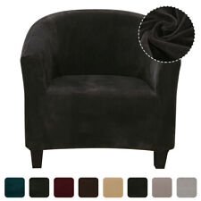 Plush Elastic Velvet Fabric Tub Chair Covers Armchair Sofa Seat Cover Slipcovers