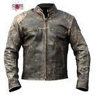 Antique Vintage Distressed Retro Motorcycle Biker Leather Slim Fit Men's Jacket