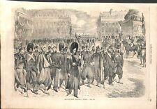 Paris parade soldats de Napoléon III grenadiers zouaves voltigeurs GRAVURE 1859