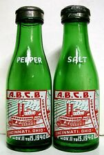 1940 A.B.C.B. Convention Salt & Pepper Set ACL Mini Bottles