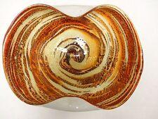 Vintage Italian Murano Venetian Glass Mid Century orange, cream, gold bowl Italy