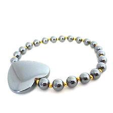 "Black hematite large heart gold bead stretch bracelet 6"" Balouli"