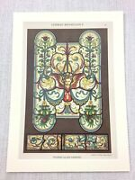 1883 Antique Print German Renaissance Stained Glass Painting Chromolithograph