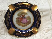 Limoges Cobalt Blue Gold Floral Trim Ashtray Lovers Pattern Fragonard France Vtg