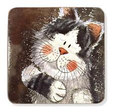 SET OF TWO TAKING IT EASY CAT CORK BACKED SQUARE COASTERS / ALEX CLARK / DINING