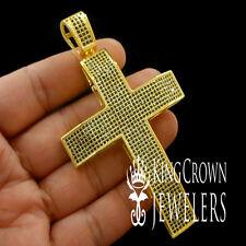 CLASSIC HOLY JESUS CROSS CHARM PENDANT BLACK LAB DIAMONDS 14K YELLOW GOLD FINISH