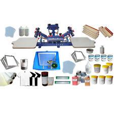 4 Color 2 Station Screen Printing Start Kit Silk Screen Press Machine & Ink Tool