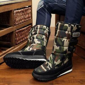 Men's Winter Snow Boots Outdoor Warm Fur Shoes Waterproof Mid-Calf Moon Boots