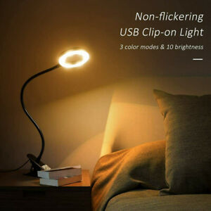 LED USB Clip On Flexible Desk Lamp Dimmable Memory Bed Read Study Table LampNEW