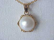 12MM AAA GENUINE WHITE MABE SOUTH SEA PEARL PENDANT SOLID 18KT YELLOW GOLD
