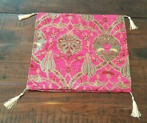 Turkish Traditional Pillowcase Kilim Pillow Cover 17x17 Inch Pink Tulip
